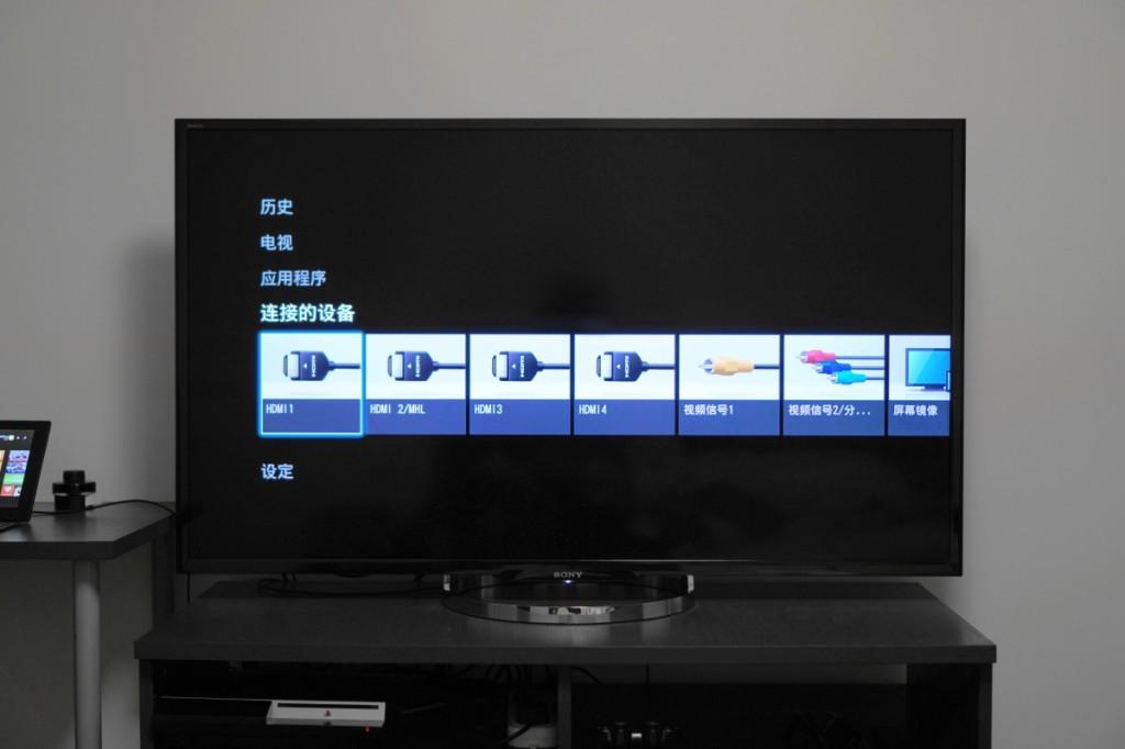 XMB 风格的主菜单,可以看到 X8500A 提供了4路 HDMI 接口,其中一个同时支持 MHL